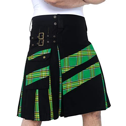 DSS KILTS- Men's Modern Hybrid Cotton & Tartan Cross Strip Designer Kilts for Weddings (Black Cotton & Irish Green Tartan, 36' Waist at Belly Button)
