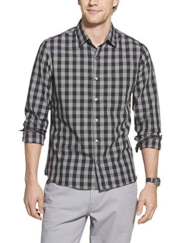 Geoffrey Beene Men's Slim Fit Easy Care Long Sleeve Button Down Shirt, Black Check Print, Medium