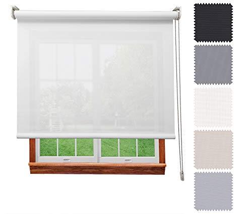 Decorestor Estor Screen 5% Premium A TU Medida, Desde 40 a 300 cm de Ancho. Intimidad y Aislamiento térmico. Blanco. Estores enrollables translucidos para Ventanas y Puertas.