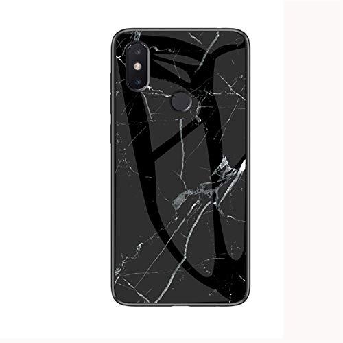 JZ Capa de celular de vidro mármore para Xiaomi Mi Mix 3 com [borda macia + capa traseira de vidro temperado] - Mármore preto