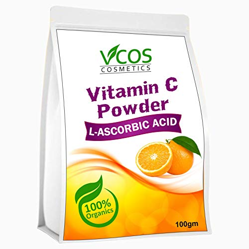 Vcos L-Ascorbic Acid Powder Vitamin C For Use in Serums and Cosmetic Formulations, 100gm