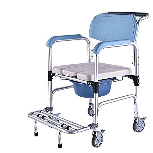 Silla de ruedas Silla de inodoro Inodoro para ancianos Silla de ruedas Aleación de aluminio Silla de baño móvil Silla de baño para mujer embarazada, Inodoro móvil plegable para personas mayore