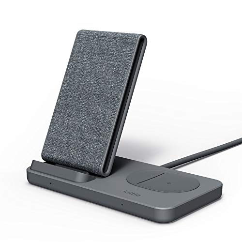 iOttie iON Wireless Duo 15W Stand + 5W Pad Qi-Certified Charger 10W Compatible with Made for Google/ Certified by Google, Google Pixel, Pixel Buds | Includes Power Cable & Adapter | Dark Grey