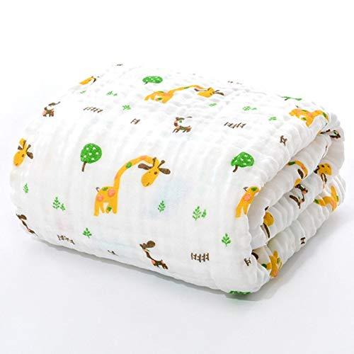 Xiaobing Muselina Albornoz para niños Manta Recién Nacido Bebé Niño Niño Gasa Algodón 105 * 105cm -Jirafa N10