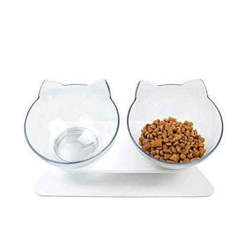 rayinblue Futternäpfe Katzenfutter, 15 ° geneigt Doppel Schüsseln Mit Portionierer rutschfest Kippen Katzen schüssel, Kreative rutschfeste Basis Doppelschüssel Hundenapf Katzennapf für Futter Wasser