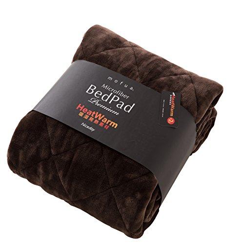 mofua(モフア)敷パッド プレミアムマイクロファイバー Heatwarm発熱 +2℃ タイプ 1年間品質保証 クィーン 160×200cm ブラウン 60110406