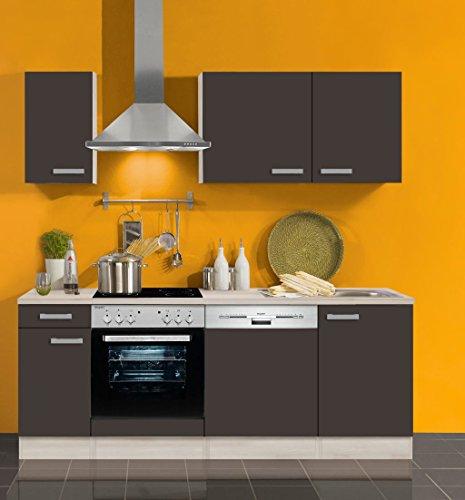 idealShopping GmbH Küchenblock mit Geschirrspüler und Glaskeramikkochfeld Faro 210 cm in Anthrazit
