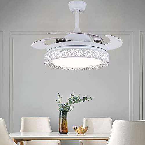 WHYIN Ventilatore da soffitto moderno con illuminazione a telecomando, lampadari, ali retrattili, 3 cambiamenti, illuminazione in acrilico, per camera da letto, soggiorno, sala da pranzo
