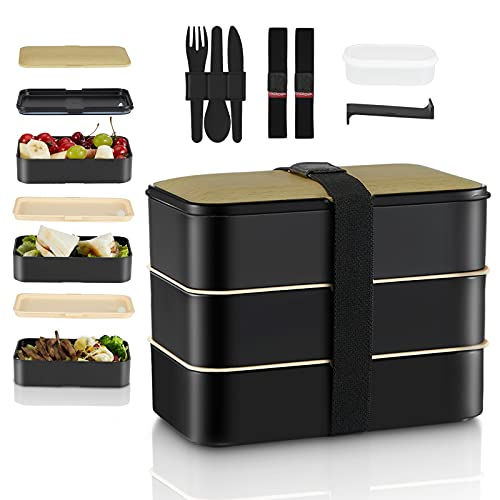 Fiambrera Bento Box Lunch Boxes, fiambrera, 3 compartimentos, edición Premium con 1 olla para salsas, 3 cubiertos y 2 paquetes para adultos/niños, apto para lavavajillas, apto para microondas, sin BPA
