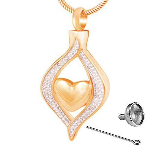 SONGAI Colgante de Botella de Perfume Collar de Cofre de Diamantes en Forma de corazón se Puede Abrir (Color : A)