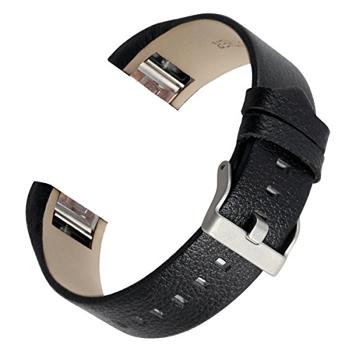 bayite Leather Bands Compatible with Fitbit Charge 2, Replacement Accessories Straps Women Men (Black)
