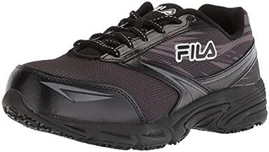 Fila Women's Memory Reckoning 8 Slip Resistant Steel Toe Running Shoe Food Service, Black/Pewter/Metallic Silver, 9