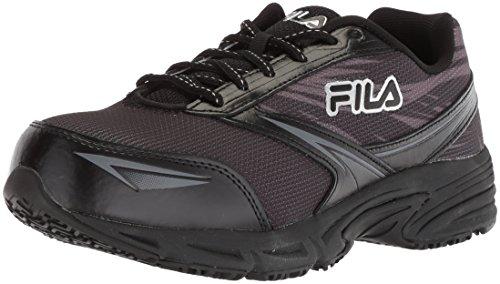Fila Women's Memory Reckoning 8 Slip Resistant Steel Toe Running Shoe Food Service, Black/Pewter/Metallic Silver, 11
