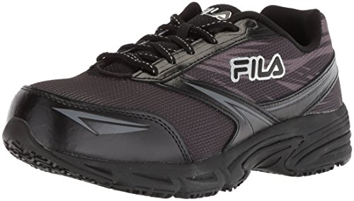 Fila Women's Memory Reckoning 8 Slip Resistant Steel Toe Running Shoe Food Service, Black/Pewter/Metallic Silver, 8.5 B US
