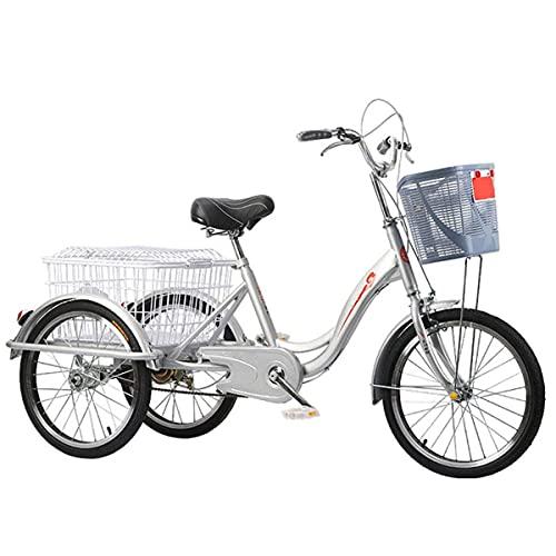 FGVDJ Pedal Triciclo de Pedal para Adultos Triciclos de Crucero de 20 Pulgadas Ancianos Fitness Transporte Ocio Cesta de la Compra Coche para Personas Mayores