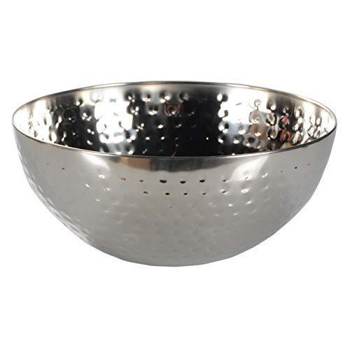DRULINE Dekoschale Obstschale Aluschale Deko Schale Rund Gehämmert Poliert aus Aluminium Esszimmer Küche Wohnzimmer | Durchmesser 29 cm | Silber