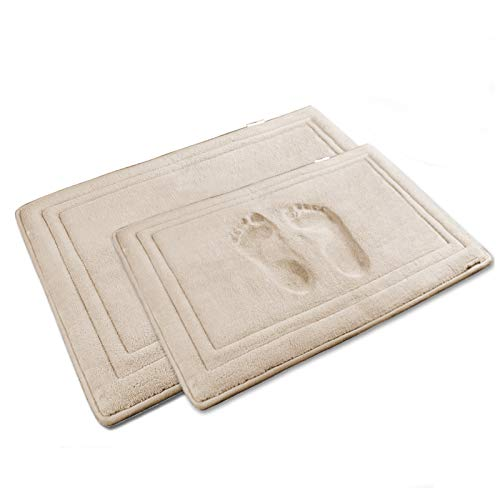 YOUTHLOTUS Memory Foam Bath Mat Set 2 Piece 17'x24' 20'x32' Non Slip Bathroom Rugs Super Water Absorption Velvet Bath Rug Machine Washable Easy to Dry, Beige