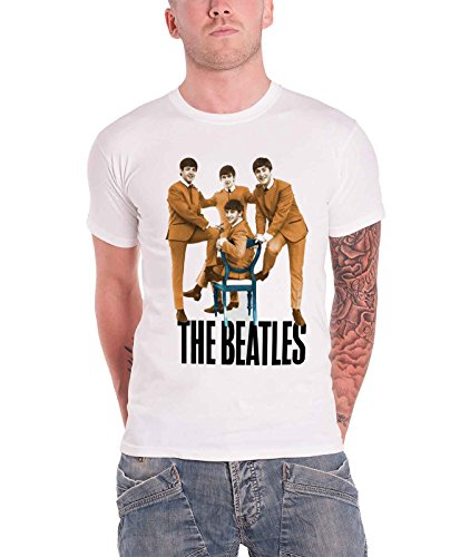 The Beatles Logo Chair fab Four Nue offiziell Herren Weiß T Shirt