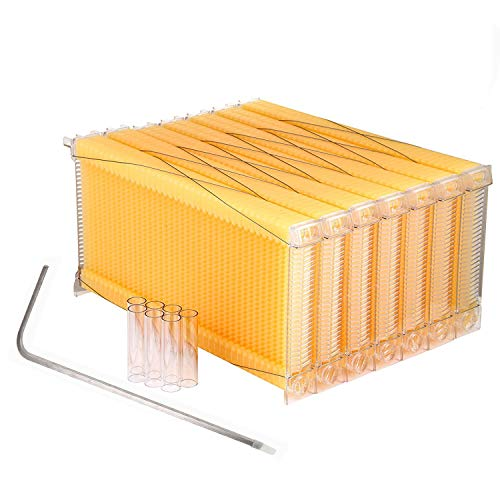 YaeTek 7Pcs Auto Flow Comb Beehive Frames Kit Raw Auto Flow Honey...