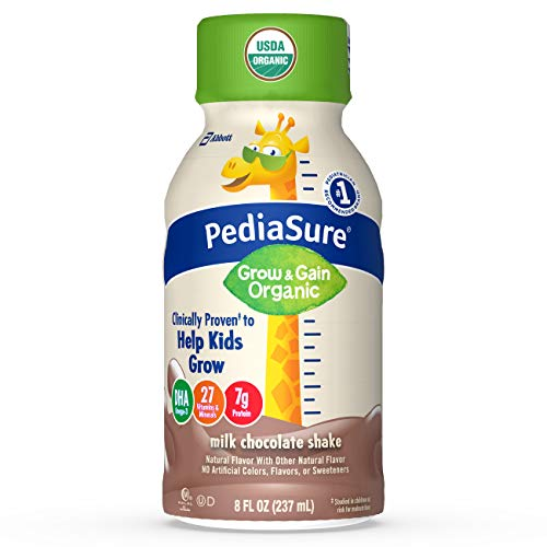 Pediasure Organic Kid's Nutrition Shake, Non-Gmo, No Artificial Flavors or Colors, No Artificial Growth Hormones, 7g Protein, 32mg Dha Omega-3, Milk Chocolate, 8 Fl Oz, 24 Count