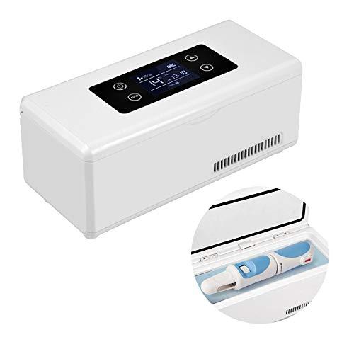 YJDQYDSH Tragbar Insulin-Kühlbox,Droge Lager Medizinisch Mini-Kühlschrank,Aufladen Lcd Intelligent Temperatur Haushalt Car Refrigerator Ruf Die Polizei/Weiß / 235x110x105mm