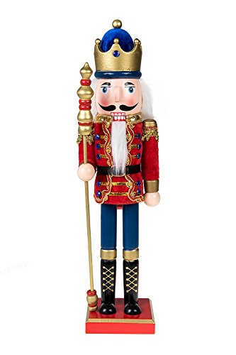Clever Creations Traditional Wooden Royal King Nutcracker with Cape Festive Christmas Decor   15' Tall Perfect for Shelves and Tables   100% Wood