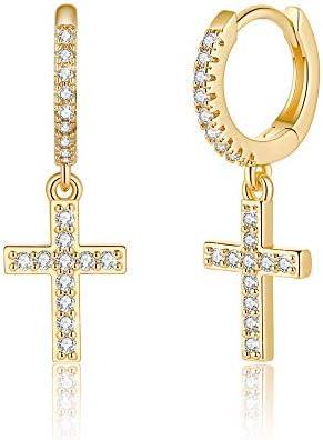 Cross Huggie Hoop Earrings S925 Sterling Silver Post 14K Gold Plated CZ Dangle Hoop Earrings product image