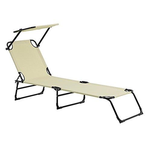 casa.pro Sonnenliege klappbar mit Dach Creme beige 190cm Liege aus Stahl Verwendung als Relaxliege Strandliege Gartenliege