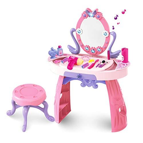 WMLS Kinder Schminktisch Frisiertisch mit Hocker, mit Licht und 5 Musikstücke Mädchen Kosmetik Spiegel, und viel Zubehör enthalten