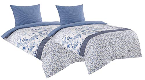 Leonado Vicenti Baumwolle Renforce Bettwäsche 135x200 4teilig weiß blau gestreift mit Reißverschluss