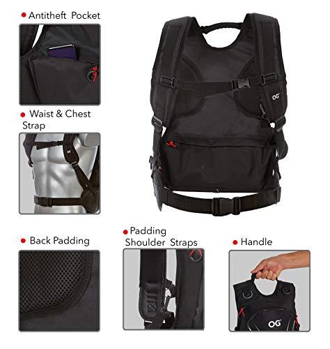 OG Online&Go Roadrunner Motorrad-Rucksack Wasserdicht Schwarz Leicht 20-30l, Motorradhelm-Tasche, Helm-Trageriemen, Fahrrad-Rucksack, Anti-Diebstahl, Laptop-Fach, Reflektierend - 7