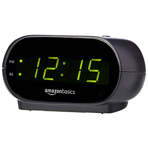 Amazon Basics Small Digital Alarm Clock with Nightlight and Battery Backup, LED Display