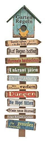 Holzschild Gartenregeln mit 11 Schildern - 99 cm - Holz Gartenstecker Garten Deko Schild Gartenstab Wand Deko