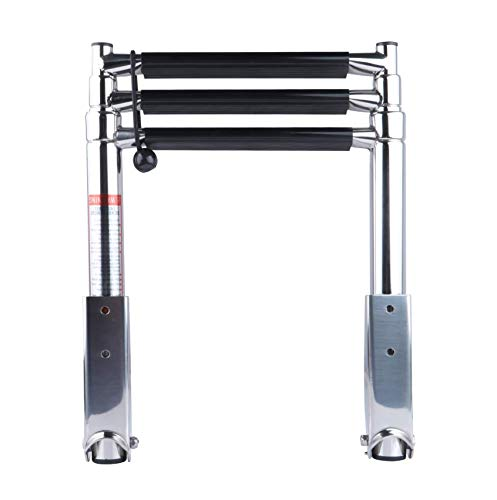 TOPMONKING 3 Step Stainless Steel Folding Marine Boat Ladder 900 Pound Capacity for Swimming...