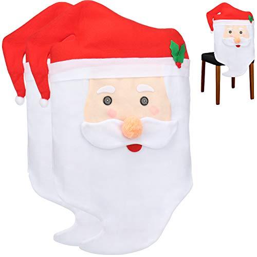 com-four® 2X Fundas de Silla Funda de Papá Noel, decoración Detallada para Poner en la Silla para Navidad (02 Piezas - Santa Claus)