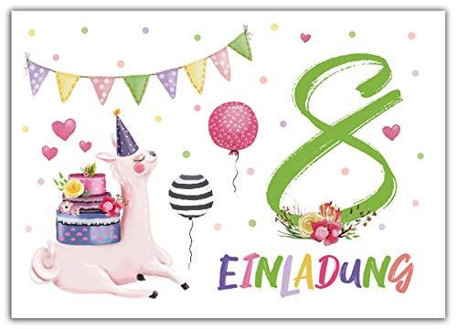 Junaversum 12 Einladungskarten zum 8. Kindergeburtstag Mädchen Lama Einladungen achte Geburtstag
