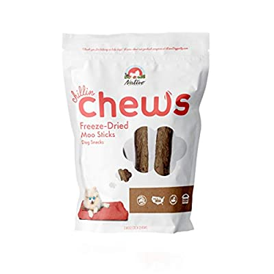 Nativo Naturals Chillin Chews for Dogs; Training Treats Freeze Dried Raw Beef Trachea (or Moo Sticks): Ethically Sourced, Single Source Protein, Gluten Free & Grain Free, Made in USA