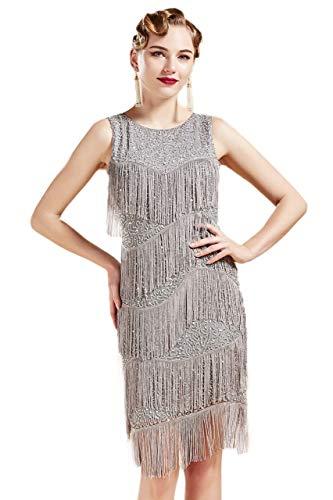 Coucoland 1920s Kleid Damen Runder Ausschnitt Elegant Abendkleid mit Multi Schichten Fransen 20er Jahre Retro Stil Great Gatsby Cocktail Party Damen Fasching Kostüm Kleid (Grau, XL)