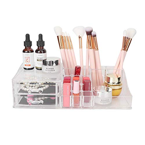 Soporte de maquillaje de escritorio transparente para herramientas de maquillaje, estante de almacenamiento para herramientas de maquillaje para cosméticos para uso doméstico para baño