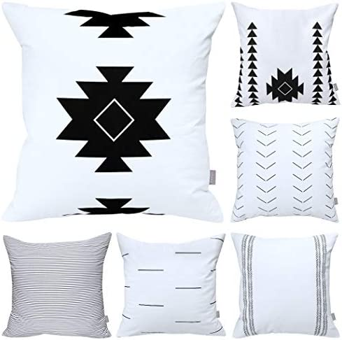 6 Pack Cotton Geometric Comfortable Decorative Throw Pillow Case Square Cushion Cover Pillowcase product image