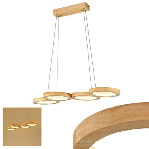 LED Pendelleuchte Holz 4-Flammig Dimmbar Ring Esstisch Lampe Höhenverstellbar Kronleuchter Lampe Rund Hängelampe Esszimmerlampe Küche Schlafzimmer Hängeleuchte Innen Deko Decke Leuchte 48W Holzlampe