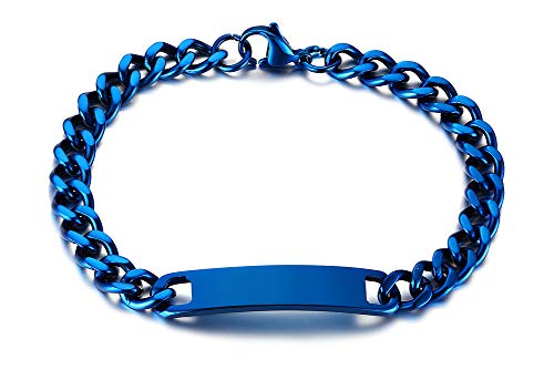 VNOX Personalizado Grabado Nombre de Acero Inoxidable Mensaje ID Brazalete Pulsera de Eslabones Azules para Hombres Niño,20cm