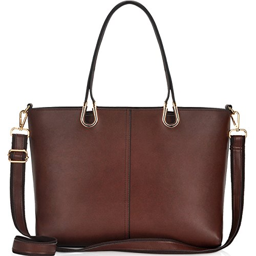Laptop Bag for Women,Casual Business Computer Bags for Women 15.6 Inch,Large Tote Bag Briefcase with Wide Crossbody Strap,Coffee