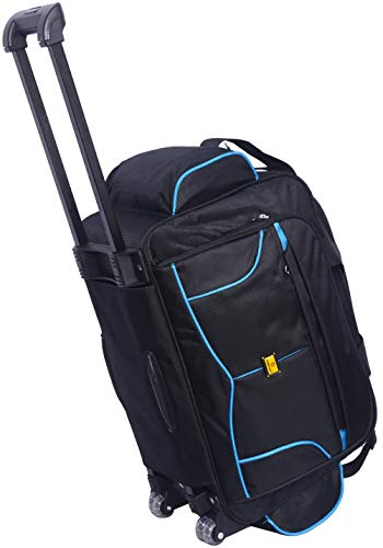 Generic 57 litres Polyester Travel Duffle Soft Sided Duffel with Wheels (Blue Black 57 cm Set 0f 1 pcs) Bags