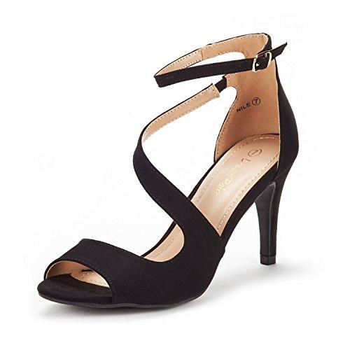 DREAM PAIRS Women's NILE Black Fashion Stilettos Open Toe Pump Heel Sandals Size 11 B(M) US