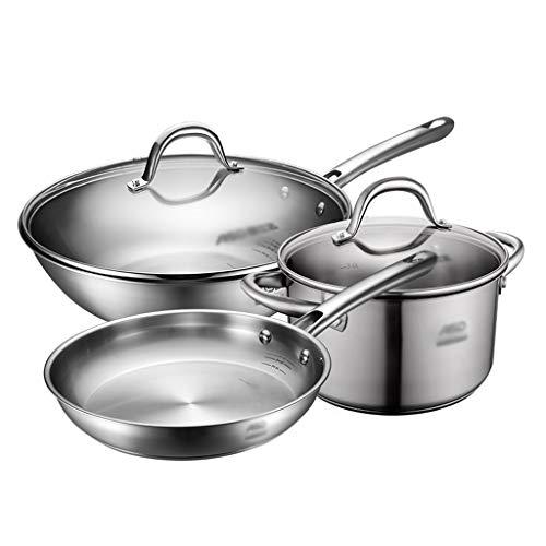 YWSZJ Juego de Utensilios de Cocina Combinados combinación de Acero Inoxidable Wok Sopa de Sopa Leche pote freír sartén Conjunto Maceta Conjunto de Tres Piezas de Cuatro Conjuntos de hogar