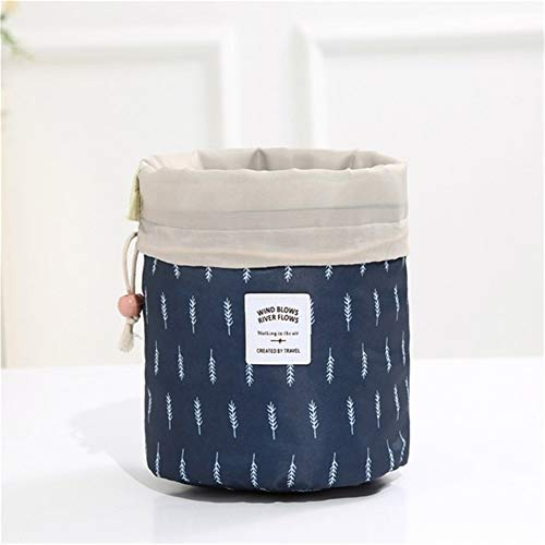 Grande Capacité 1 pcs Femmes cylindre Sac cosmétique Voyage en forme de corde Tirer Organisateur de maquillage Make Sacs Case Up Pouch Wash toilette (Color : Navy Feather)