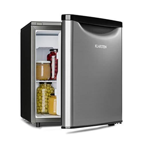 Klarstein Yummy - Nevera, Descongelación semi-automática, EEC F, Nivel ruido 41 dB, Congelador hasta -3 °C, Revestimiento cromado, 45 x 51,5 x 48 cm, Capacidad de 47 Litros, Plateado