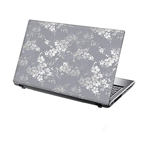 petit Taylor He vinyl cover for 13-14 inch laptops. Made in England. Silver gray floral pattern.
