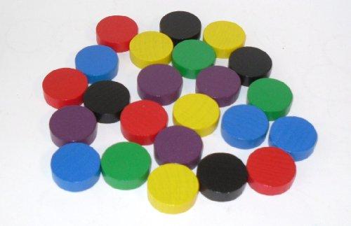 100 Spielchips , Roulette Spielmarken , Zählchips aus Holz , farblich gemischt 21mm x 7mm